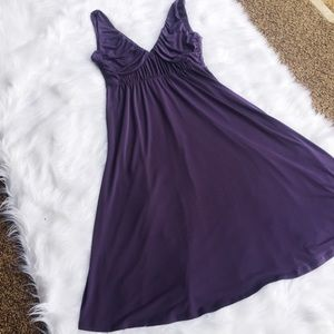 BCBG Paris Purple Midi Empire Dress Tank, Eggplant
